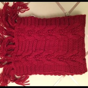 Red Cable Knit scarf with fringe.